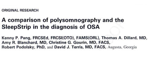 comparison of polysomnography and the sleepstrip in the diagnosis of OSA
